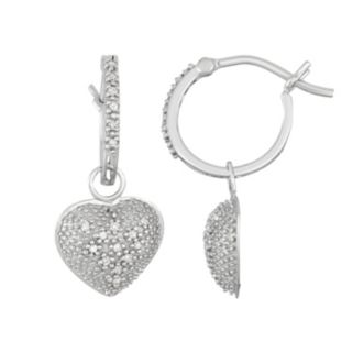 10k White Gold 1/10 Carat T.W. Diamond Heart Hoop Earrings