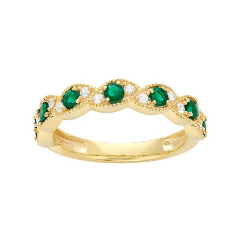14k Gold Over Silver Lab-Created Emerald & Lab-Created White Sapphire  Scalloped Ring