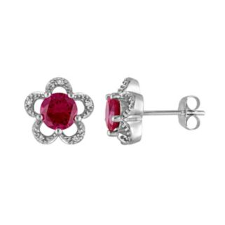 Laura Ashley 10k White Gold Lab-Created Ruby & Diamond Accent Flower Stud Earrings