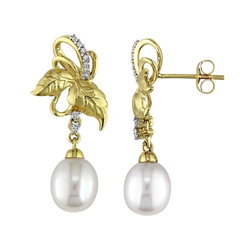 Laura Ashley 10k Gold Freshwater Cultured Pearl & 1/10 Carat T.W. Diamond Leaf Drop Earrings