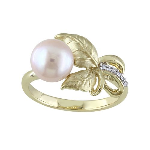 Laura Ashley Lifestyles 10k Gold Freshwater Cultured Pearl & Diamond Accent Leaf Ring