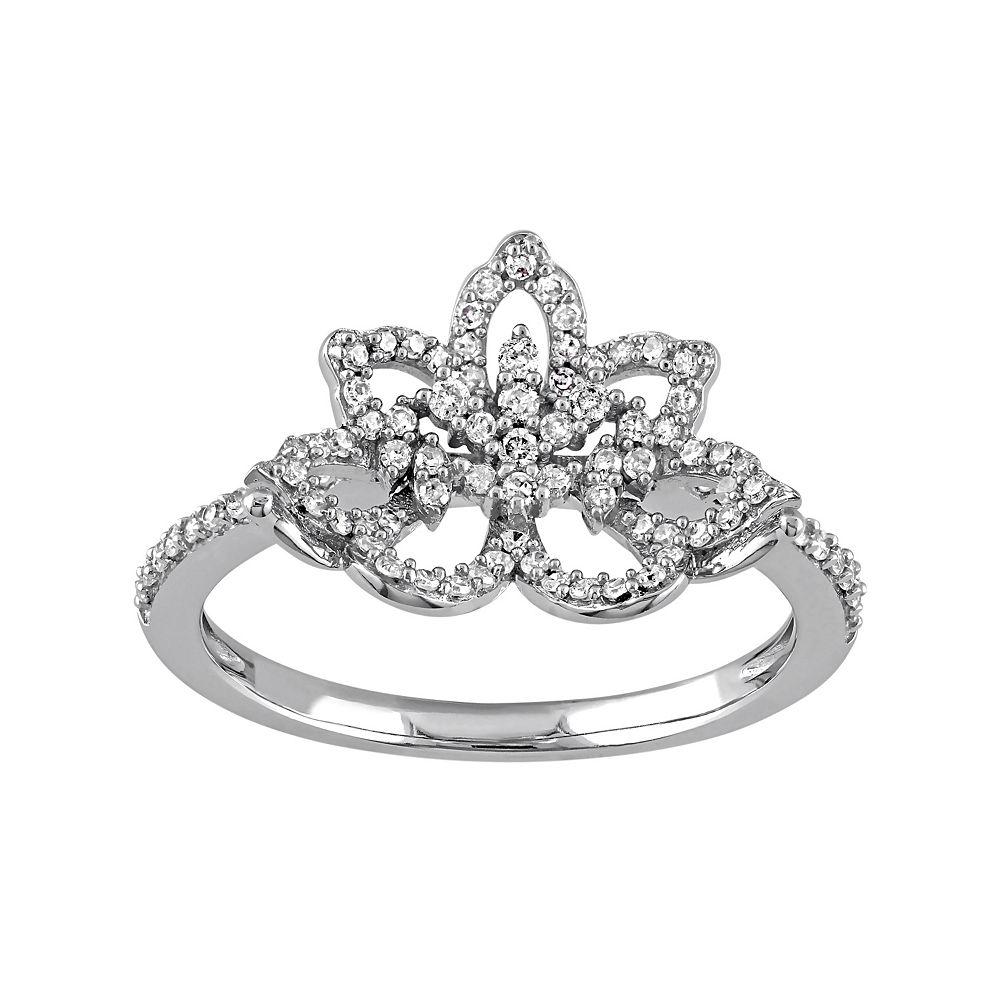 Laura Ashley Lifestyles 10k White Gold 13 Carat Tw Diamond Flower