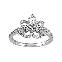 Laura Ashley Lifestyles 10k White Gold 1/3 Carat T.W. Diamond Flower Ring