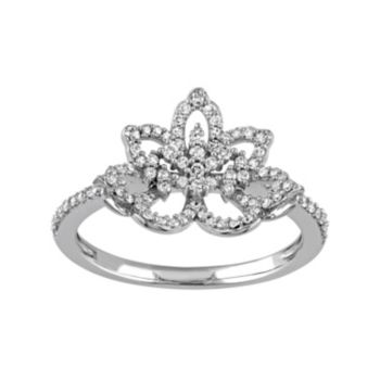 Laura Ashley 10k White Gold 1/3 Carat T.W. Diamond Flower Ring