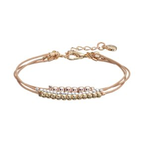 LC Lauren Conrad Tri Tone Beaded Multi Strand Cord Bracelet