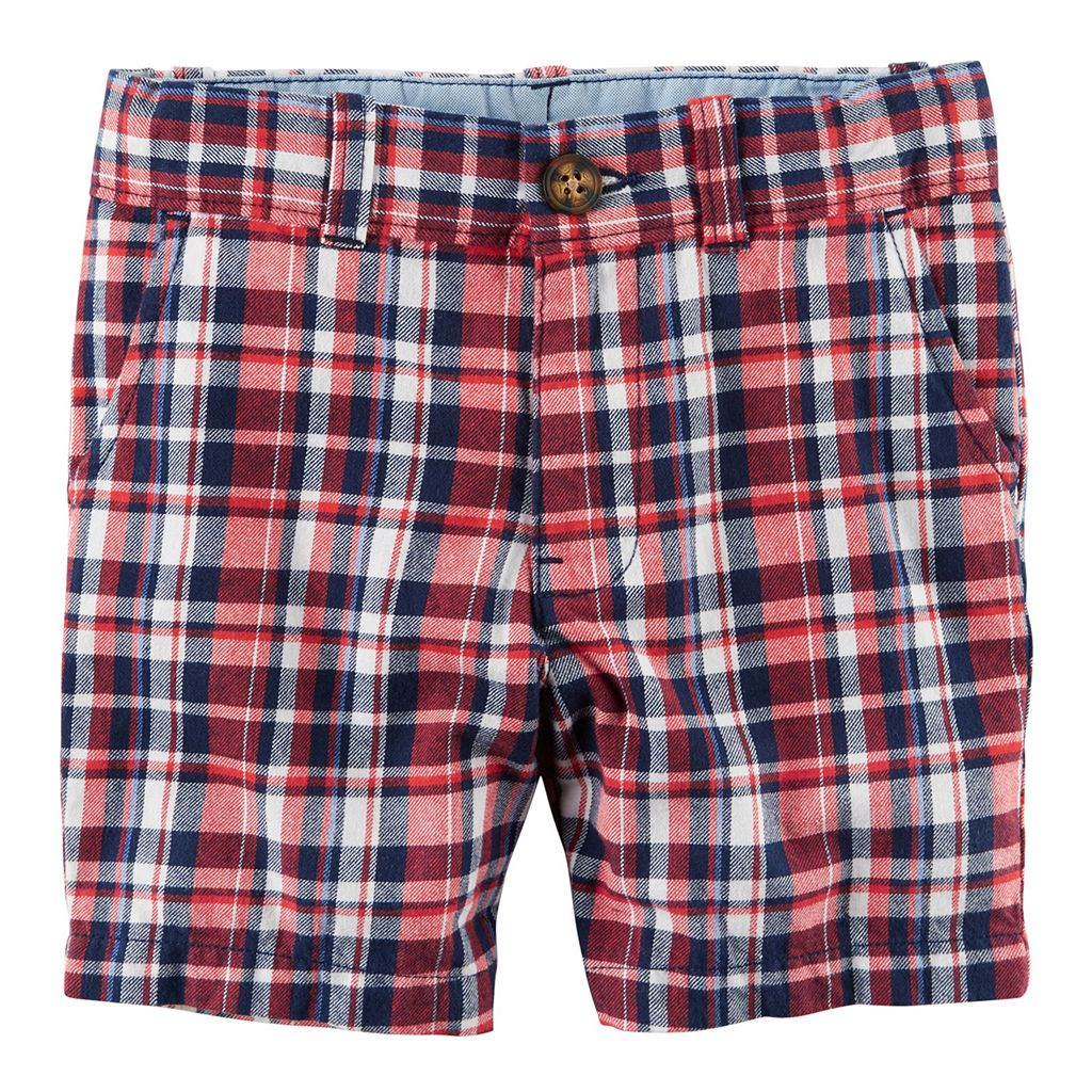 Boys 4-8 Carter's Flat Front Red & Navy Plaid Shorts