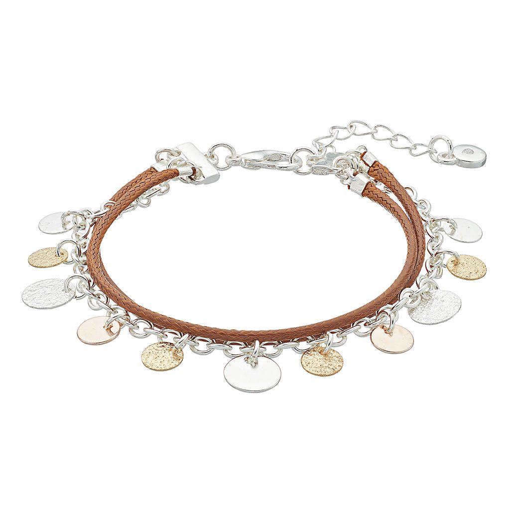 LC Lauren Conrad Textured Tri Tone Disc Multi Strand Bracelet