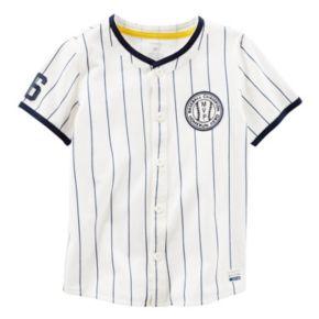 Baby Boy Carter's Pinstripe Button-Down Baseball Jersey Tee