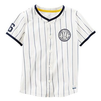 Baby Boy Carter's Pinstripe Button-Down Baseball Jersey Tee