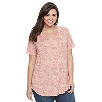 Juniors' Plus Size Mudd® V-Neck Shirttail Tunic Tee
