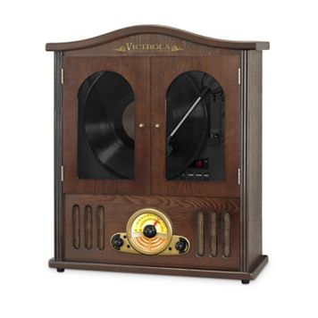 Victrola Wood Wall Mount Bluetooth Record Player with CD Player
