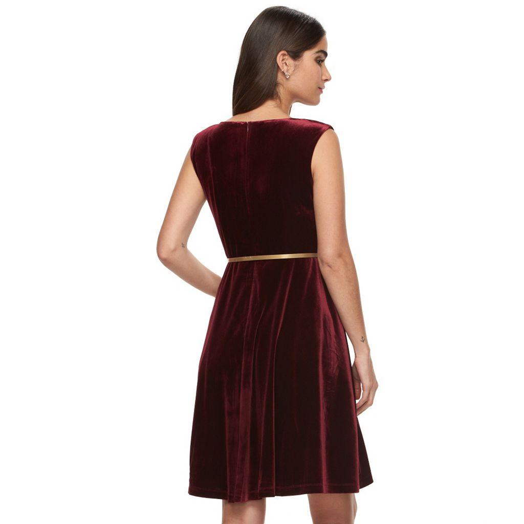 Women's Suite 7 Velvet Fit & Flare Dress