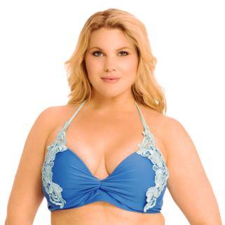 Plus Size Paramour Lace Applique Underwire Halter Bikini Top