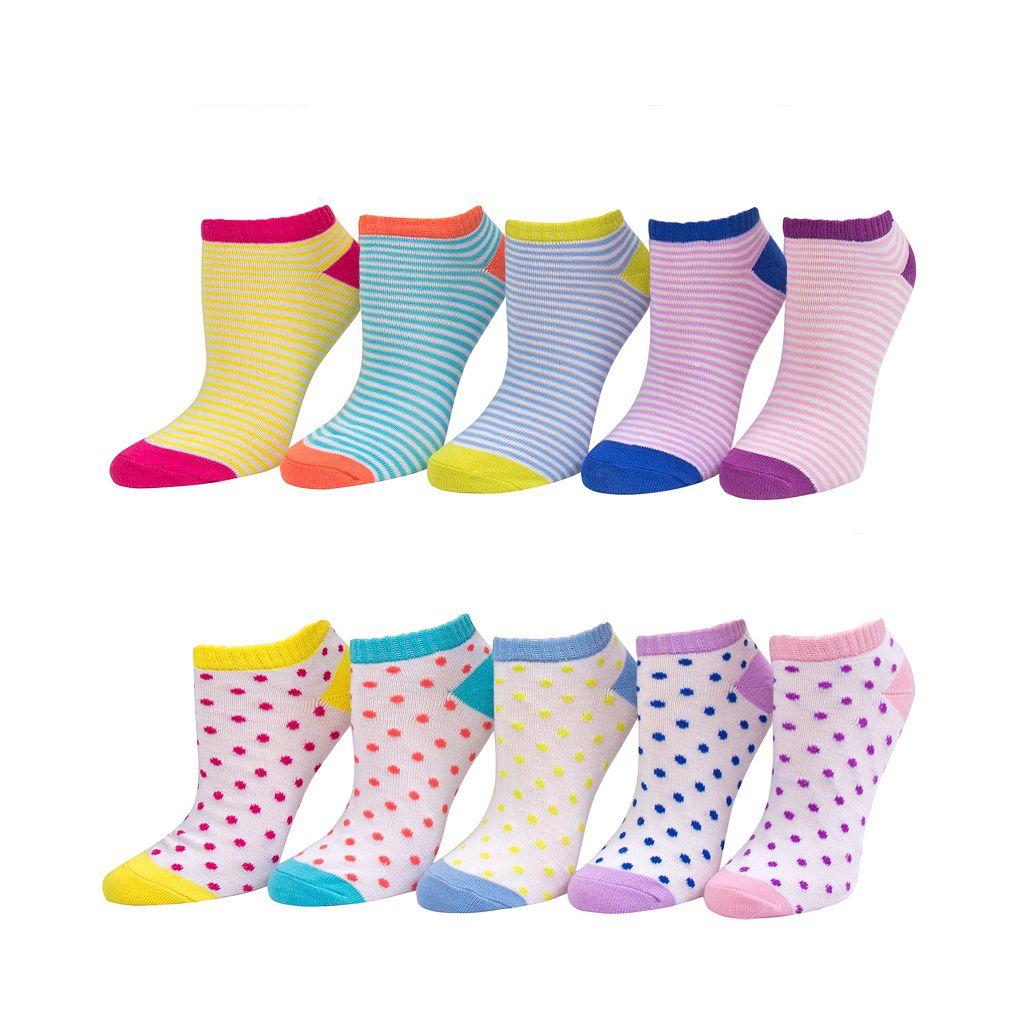 Girls 4-16 SO® 10-pk. Pattern No-Show Socks