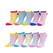 Girls 4-16 SO® 10 pkPattern No-Show Socks
