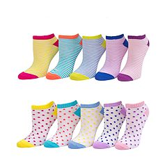 Girls 4-16 SO® 10-pk. Pattern No-Show Socks