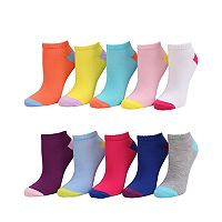 Girls 4-16 SO® 10 pkColorblock No-Show Socks