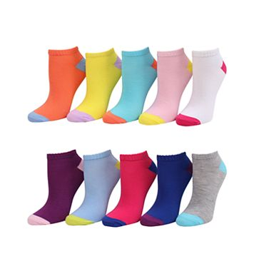 Girls 4-16 SO® 10-pk. Colorblock No-Show Socks