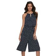 Petite Suite 7 Polka-Dot Cropped Jumpsuit
