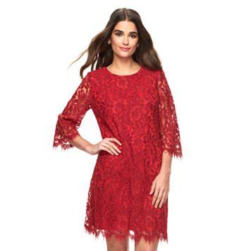 Women's Ronni Nicole Red Lace Shift Dress