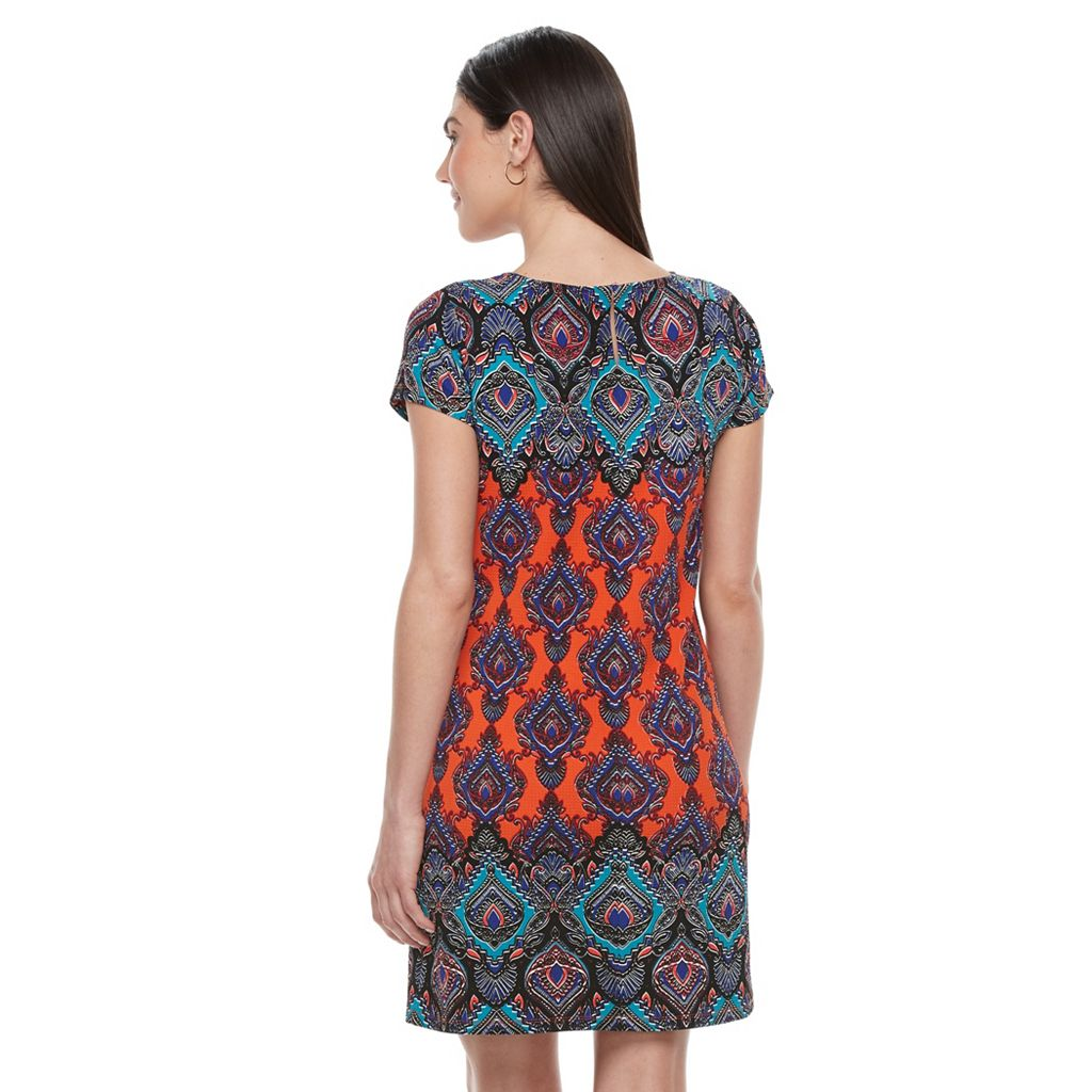 Petite Suite 7 Scroll Textured Shift Dress