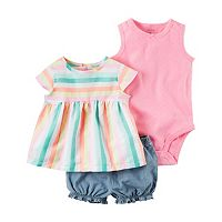 Baby Girl Carter's Solid Bodysuit, Striped & Chambray Bubble Shorts Set