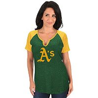 Women's Majestic Oakland Athletics Burnout Tee
