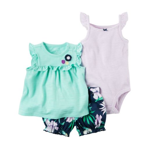 Baby Girl Carter's Striped Bodysuit, Ruffled Top & Floral Bubble Shorts Set