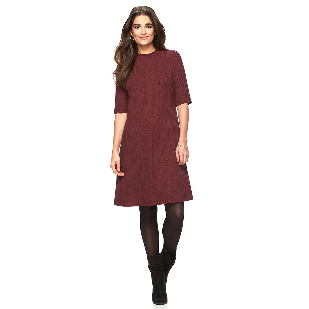 Women's Ronni Nicole Burgundy Mockneck Shift Dress
