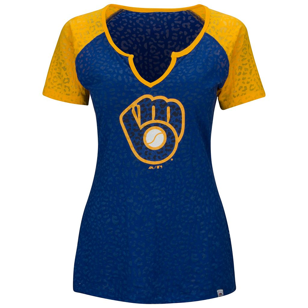 Women's Majestic Milwaukee Brewers Burnout Tee