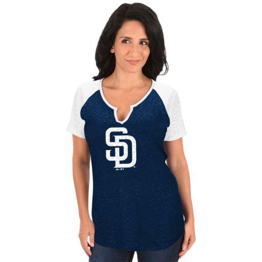 Women's Majestic San Diego Padres Burnout Tee