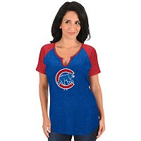 Women's Majestic Chicago Cubs Burnout Tee