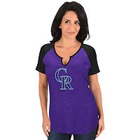 Women's Majestic Colorado Rockies Burnout Tee