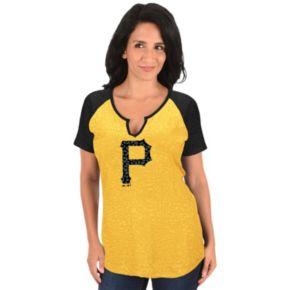 Women's Majestic Pittsburgh Pirates Burnout Tee