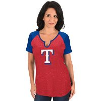 Women's Majestic Texas Rangers Burnout Tee