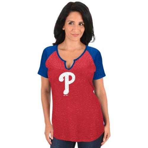 Women's Majestic Philadelphia Phillies Burnout Tee