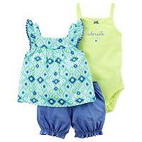 Baby Girl Carter's Geometric Tank Top, Graphic Bodysuit & Shorts Set