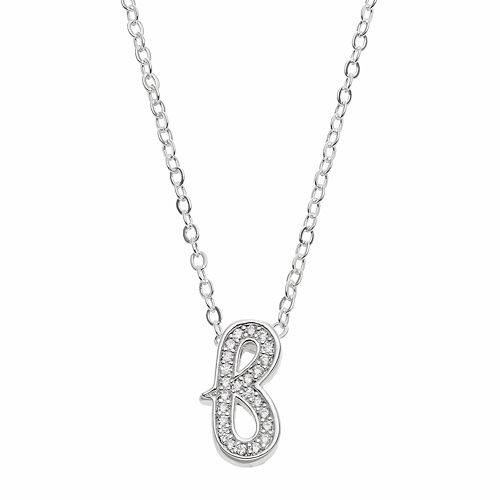 Silver-Plated Cubic Zirconia Initial Pendant Necklace