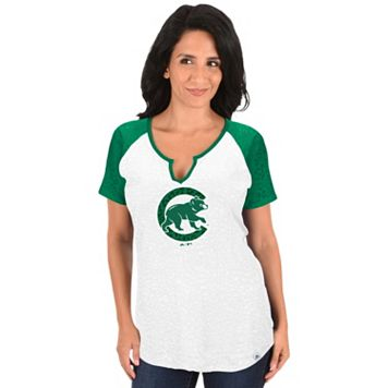 Women's Majestic Chicago Cubs Celtic Burnout Tee