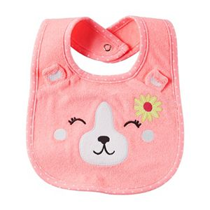 Baby Girl Carter's Embroidered Bear Terry Bib