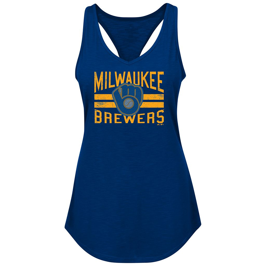 Women's Majestic Milwaukee Brewers Four Seamer Tank