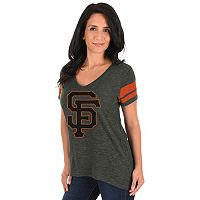 Women's Majestic San Francisco Giants Check the Tape Tee