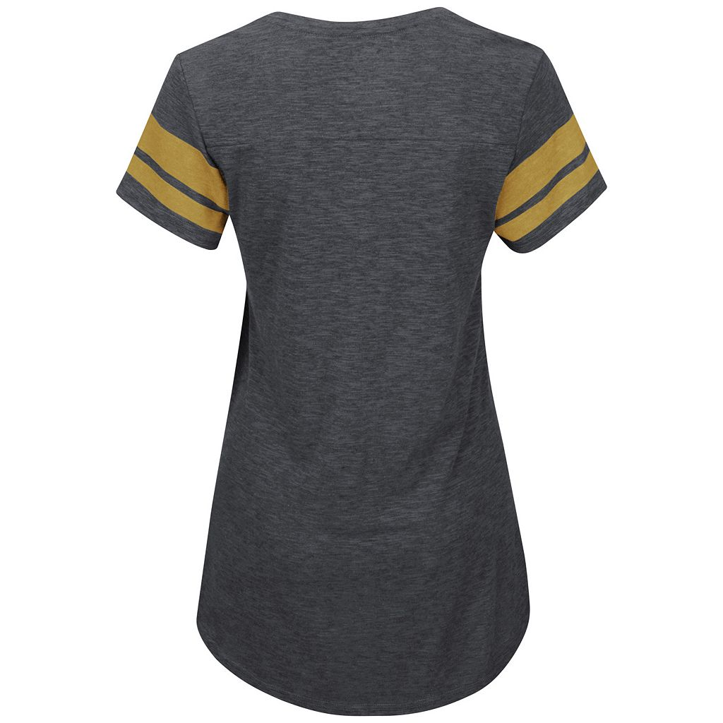 Women's Majestic Pittsburgh Pirates Check the Tape Tee