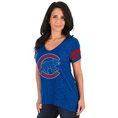 Women's Majestic Chicago Cubs Check the Tape Tee
