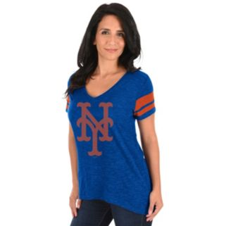Women's Majestic New York Mets Check the Tape Tee