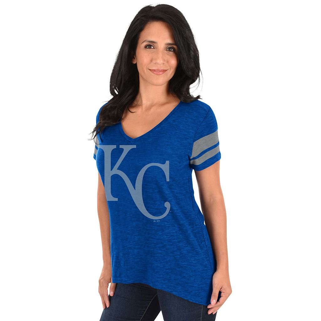 Women's Majestic Kansas City Royals Check the Tape Tee