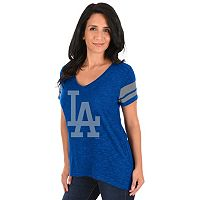 Women's Majestic Los Angeles Dodgers Check the Tape Tee