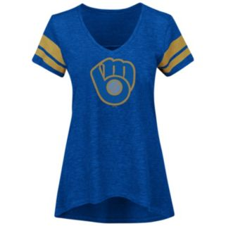Women's Majestic Milwaukee Brewers Check the Tape Tee