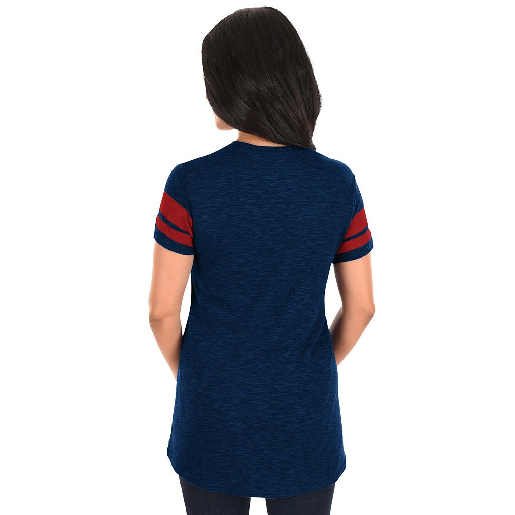 Women's Majestic Cleveland Indians Check the Tape Tee