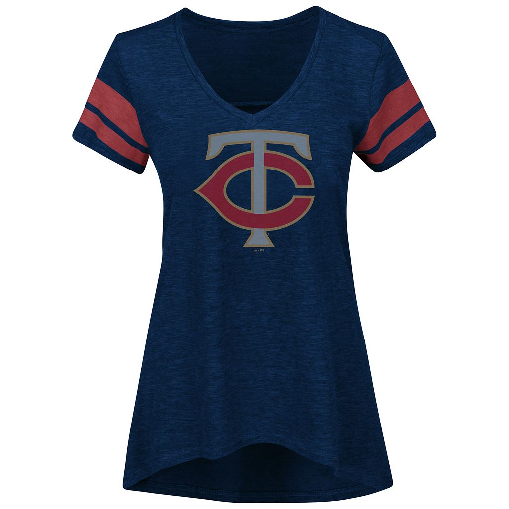 Women's Majestic Minnesota Twins Check the Tape Tee